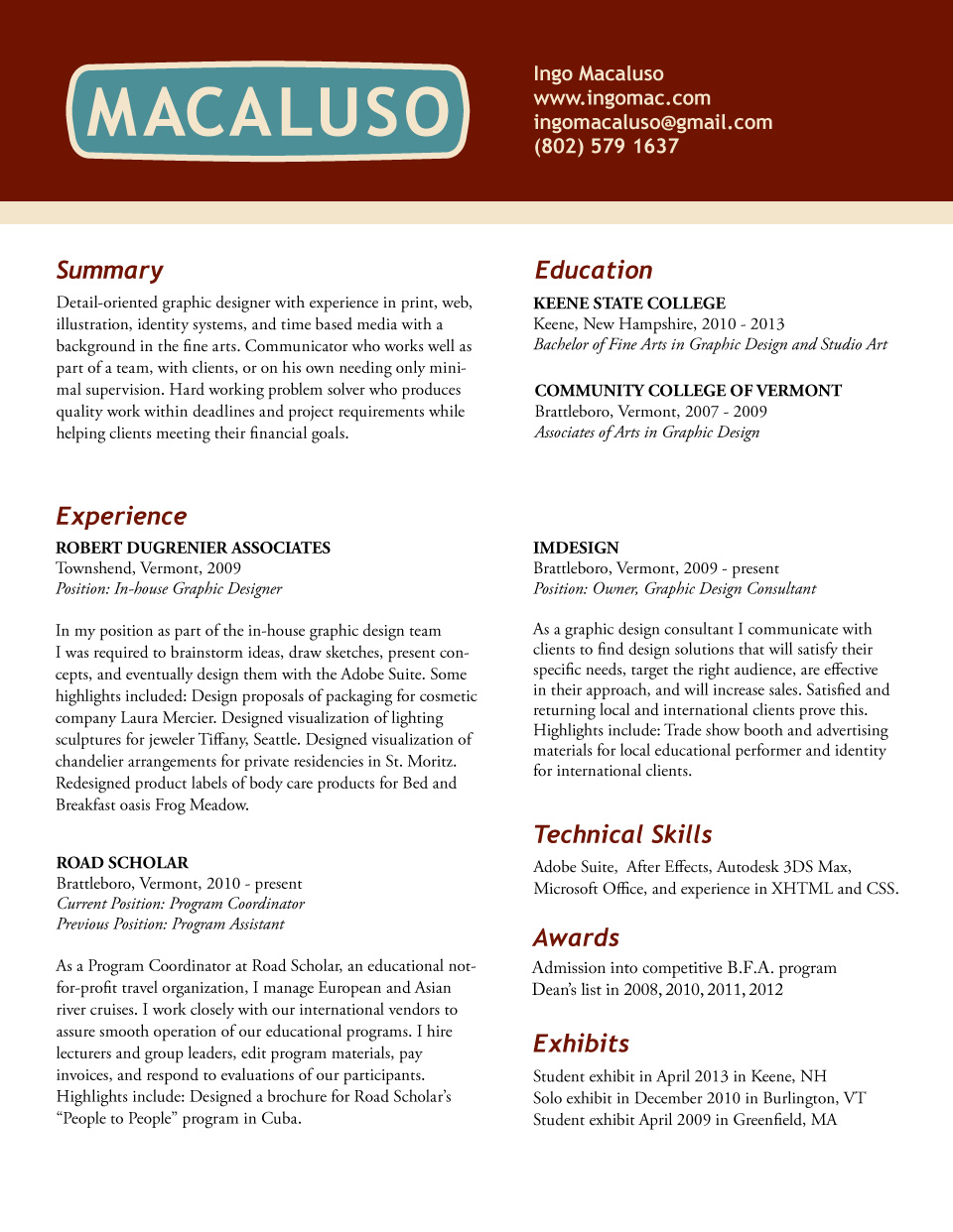 resume of ingo macaluso resume